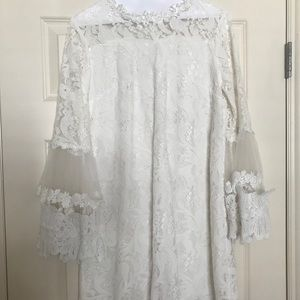 Dresses & Skirts - White long sleeved, lacy cocktail dress